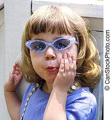 leány, alatt, napszemüveg