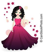 leány, alatt, rózsaszínű ruha