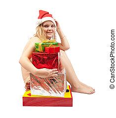 leány, alatt, santa kalap, ülés, meztelen, noha, christmas tehetség