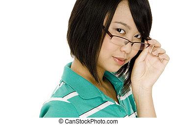 leány, alatt, szemüveg