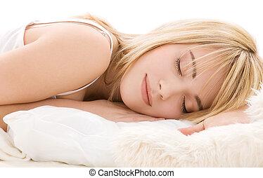 leány, alvás