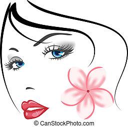 leány, arc, szépség