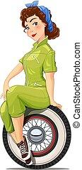 leány, autó, szüret, wheel., automechanic