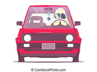 leány, autó.
