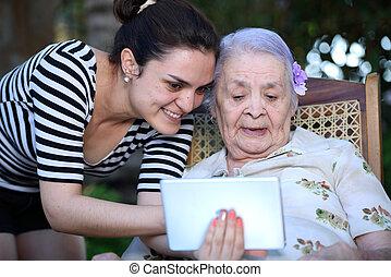 leány, befolyás, tabletta, nagyanyó