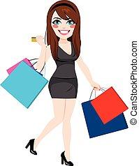 leány, bevásárlás, értékesítések