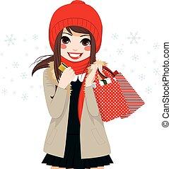 leány, bevásárlás, karácsony, tél