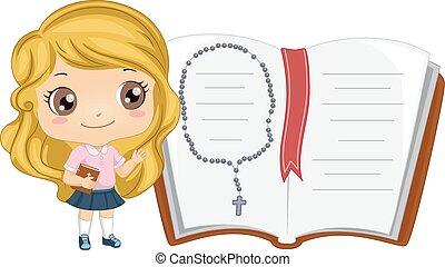 leány, biblia, nyitott könyv, kölyök