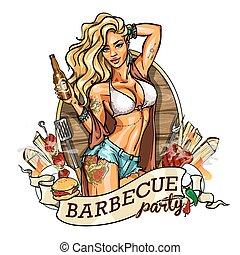 leány, bikini, fél, sör, label., bottle.