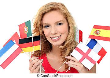 leány, birtok, egy, összeverődik of, nemzeti, zászlók