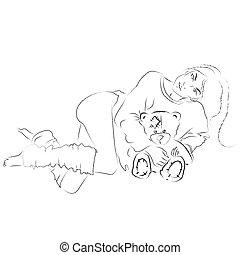 leány, birtok, teddy-mackó, bear., kéz, rajz, illustration.