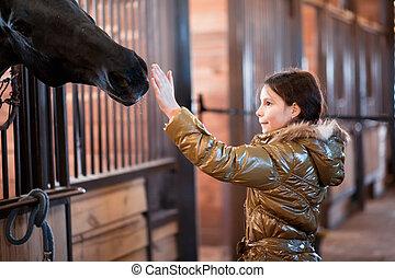 leány, cirógató, ló
