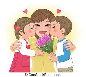leány, csókolózás, anyu, fiú