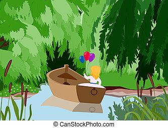 leány, csónakázik