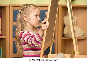leány, csalogat, képben látható, egy, festőállvány