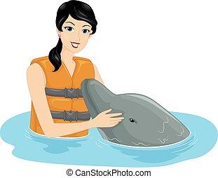 leány, delfin, veregetés, barátságos