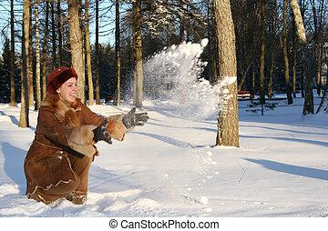 leány, dob, hó