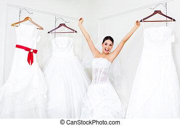 leány, eldöntés, egy, esküvő öltözködik