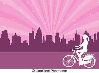 leány, elnyomott bicikli, képben látható, a, elvont, város, háttér