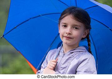 leány, esernyő, birtok