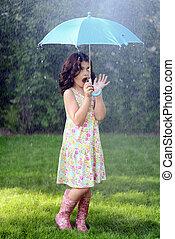 leány, esernyő, fiatal, eső