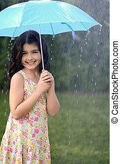 leány, esernyő, játék, eső