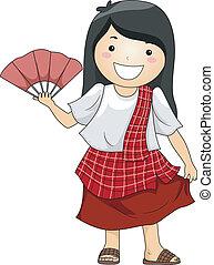 leány, fárasztó, hagyományos, philippine, jelmez