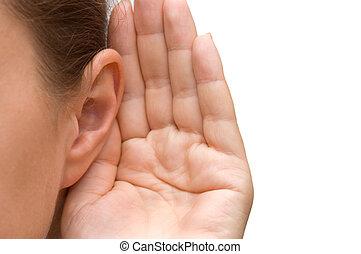 leány, fül, kihallgatás, neki, kéz
