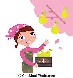 leány, fa gyümölcs, csinos, betakarít, kert, ősz