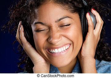 leány, fejhallgató, zene