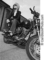 leány, fekete, fehér, motorkerékpár