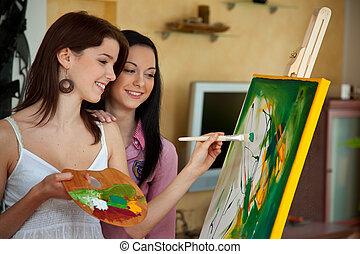 leány, festőállvány, festmény, fiatal