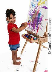 leány, festmény, gyermek