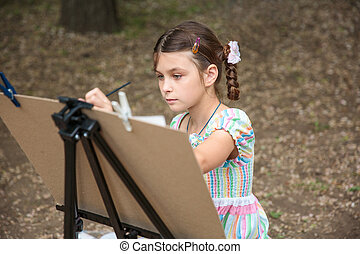 leány, festmény, képben látható, festőállvány