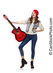 leány, fiatal, elszigetelt, gitár, fehér, mosolygós
