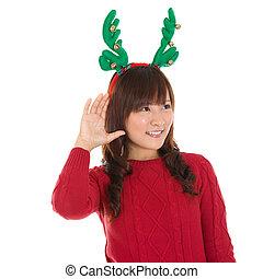 leány, fiatal, kihallgatás, karácsony, ázsiai