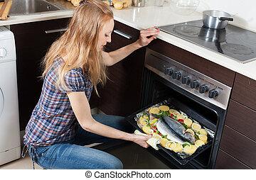 leány, fish, kemence, nyers, főzés, közönséges