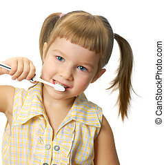 leány, fogkefe