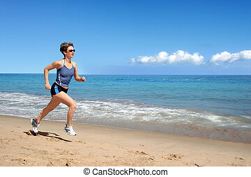 leány, futás, a parton