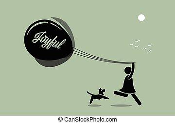 leány, futás, noha, balloon