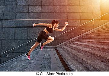 leány, fut, gyorsan, képben látható, egy, modern, lépcsőfok