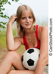 leány, futball, bájos