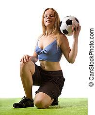 leány, futball, feltevő, labda
