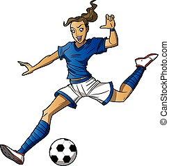leány, futball játékos