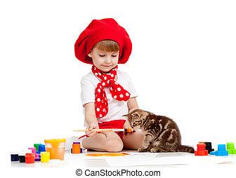 leány, gyermek, festmény, Macska