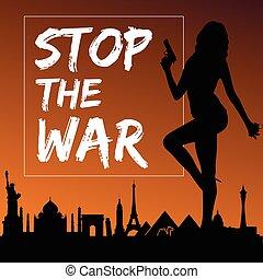 leány, háború, ábra, árnykép, áttetsző, bombáz, abbahagy