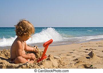 leány, homok