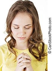 leány, imádkozás, fiatal, meglehetősen, kaukázusi