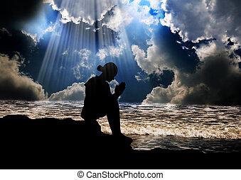 leány, imádkozás, fordíts, isten