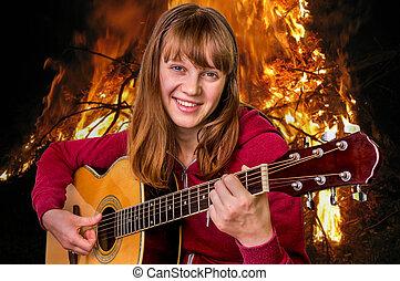 leány, játék, akusztikai, fiatal, gitár
